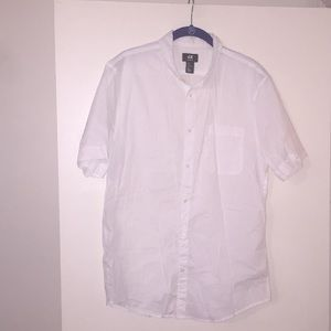 H&M White Short Sleeved Button-down Shirt